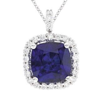 14k White Gold Diamond and Cushion Natural Corundum Sapphire Pendant with Diamond Accents