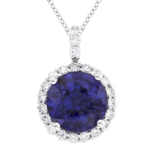 14K White Gold 8 mm Round Cut - Natural Corundum Blue Sapphire Pendant