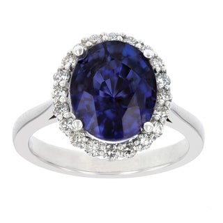 14k White Gold Natural Corundum Sapphire and 2/5ct TDW White Diamond Oval Ring (H-I, SI2-I1)