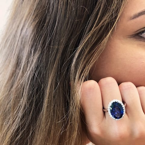 14k White Gold Oval Natural Corundum Sapphire Ring with a Diamond Accented Setting and Band