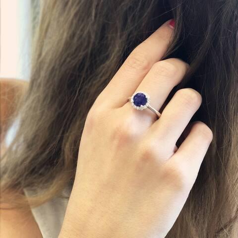 14k White Gold Natural Corundum Sapphire and 1/4ct TDW White Diamond Round Ring