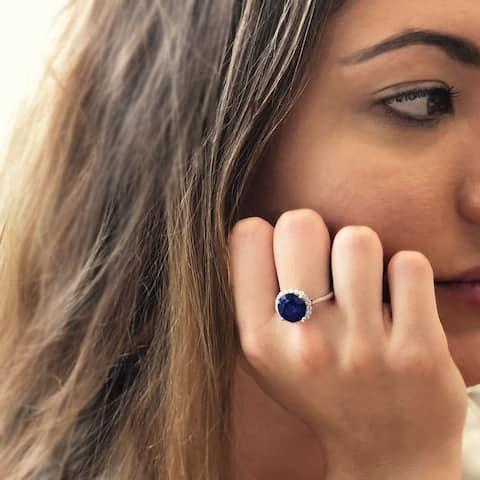 14k White Gold Natural Corundum Sapphire and 2/5ct TDW White Diamond Round Ring