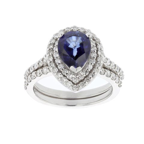 Ladies Pear Corundum Sapphire and Diamond 1 ct. TDW Accented Engagement Ring with Matching Wedding Band