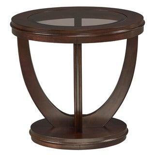 La Jolla Glass and Veneer Merlot Finish End Table