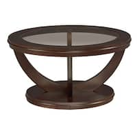 La Jolla Brown Veneer Round Cocktail Table with Glass Top