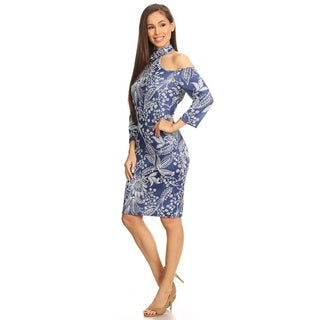 Women's Blue Floral-pattern Fitted Dress with Faux Choker