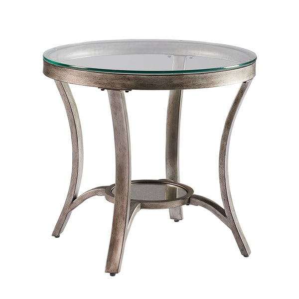 Superbe Cole Grey Metal Round End Table With Glass Top