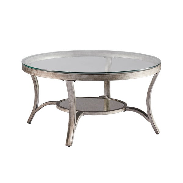 shop cole grey glass metal round cocktail table free shipping today 14329324. Black Bedroom Furniture Sets. Home Design Ideas