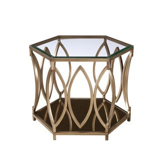 Santa Barbera Goldtone Metal End Table with Glass Top