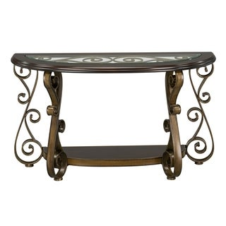Bombay Brown Wood and Metal Console Table