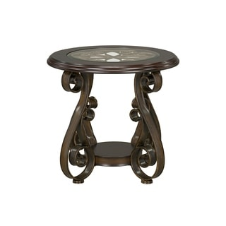 Bombay Brown Wood and Metal End Table