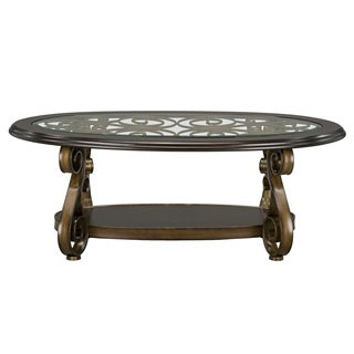 Bombay Veneer and Metal Bronze Finish Cocktail Table