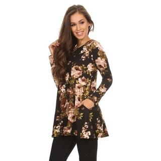 Women's Black Floral Pattern Rayon Blend Tunic