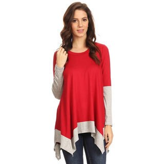 Women's Solid Rayon/ Spandex Tunic with Contrasting Hem