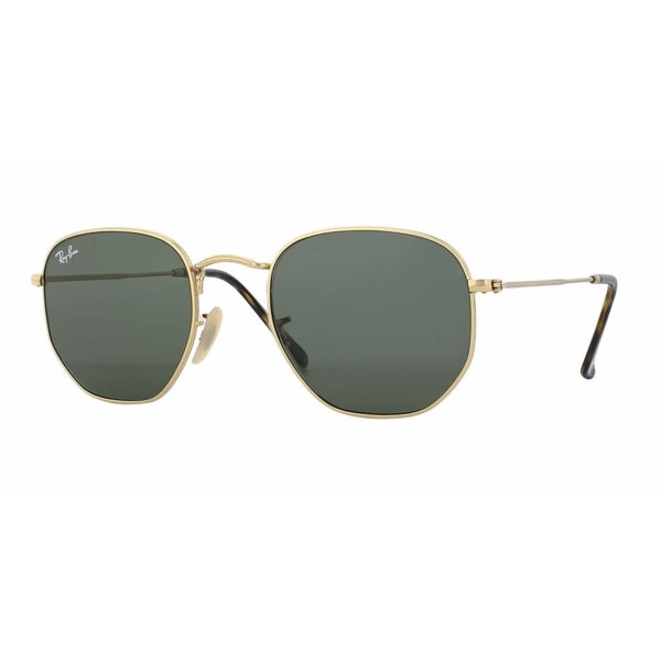 Ray-Ban RB3548N 001 Hexagonal Flat Gold Frame Green Classc 51mm Lens Sunglasses