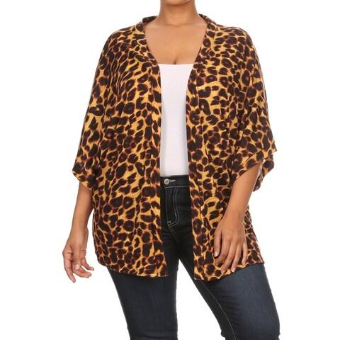 Women's Animal Pattern Spandex Blend Plus Size Cardigan