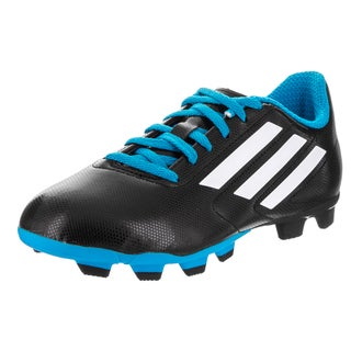Adidas Kids' Conquisto FG J Black Synthetic-leather Indoor Soccer Cleat