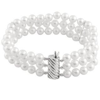 Triple Row White Freshwater Pearl Bracelet (5-6 mm)