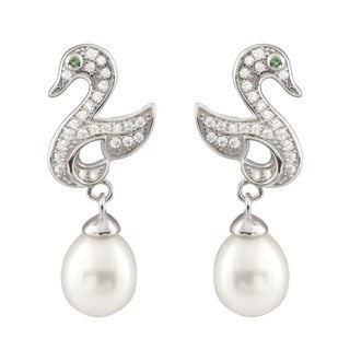 Sterling Silver Cubic Zirconia and Pearl Swan-shaped Dangling Earrings