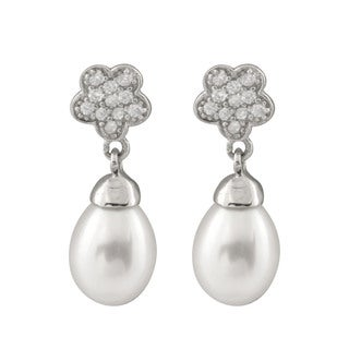 Sterling Silver Pearl and Cubic Zirconia Flower Cluster Dangling Earrings