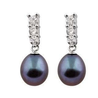 Sterling Silver Triple Cubic Zirconia Dangling Pearl Earrings