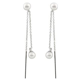 Sterling Silver Freshwater Pearl Double Dangling Earrings