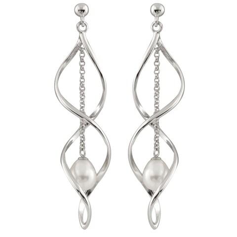 Sterling Silver and Freshwater Pearl Chandelier Earrings