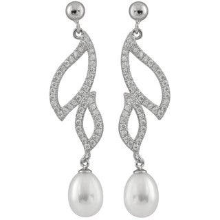 Sterling Silver Pearl and Cubic Zirconia Earrings