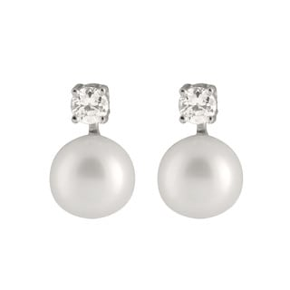 Sterling Silver Cubic Zirconia Accented Pearl Stud Earrings