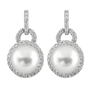 Sterling Silver Cubic Zirconia and Loch-shaped Dangling Pearl Earrings