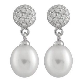 Cubic Zirconia Cluster Pearl Dangling Stud Earrings