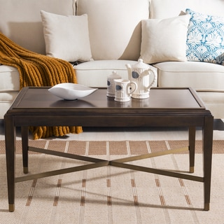 Contemporary Brown finish X Base Coffee Table