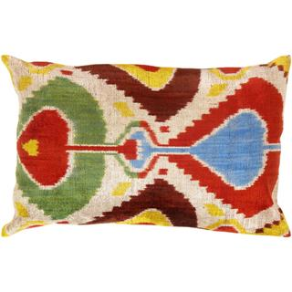 Pasargad Multicolored Velvet 16-inch x 24-inch Ikat Turkish Pillow