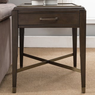 Contemporary Brown finish X Base End Table