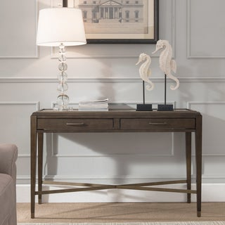Contemporary Brown finish Two Drawer Console Table