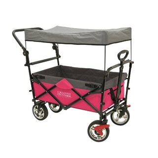 Creative Outdoor Distributor Push-Pull Folding Wagon with Canopy, Hot Pink