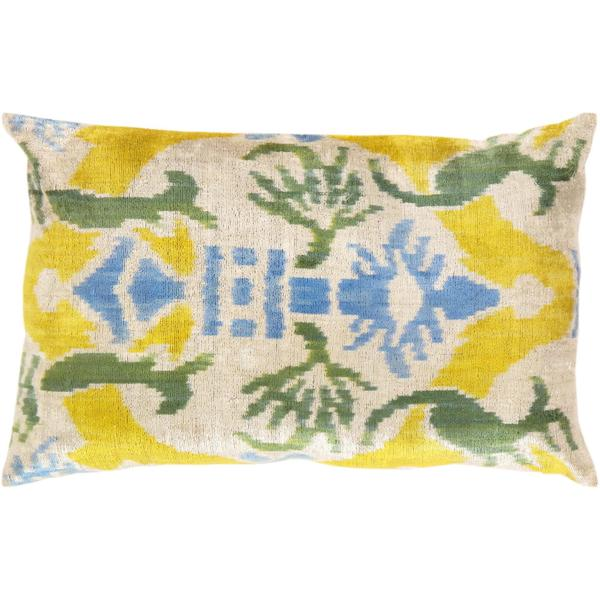 Pasargad Turkish Multicolored Velvet Ikat Pillow