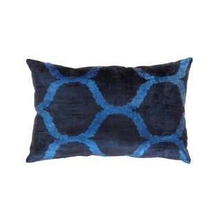Pasargad Navy/Blue Velvet 15 x 13-inch Ikat Turkish Pillow