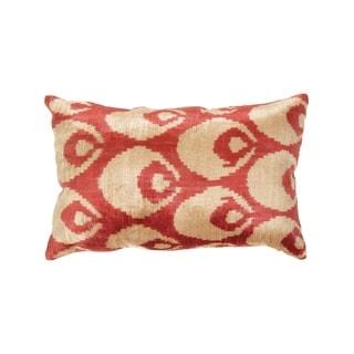 Pasargad Rust/Beige Velvet Ikat Turkish 15x23 Pillow