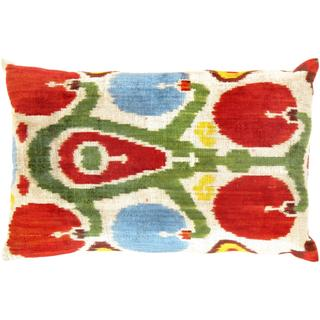 Pasargad Multicolored Velvet 16-inch x 24-inch Ikat Turkish Pillows