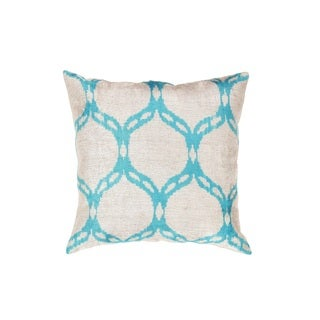 Pasargad Silver/Aqua Velvet 23-inch Ikat Turkish Pillow