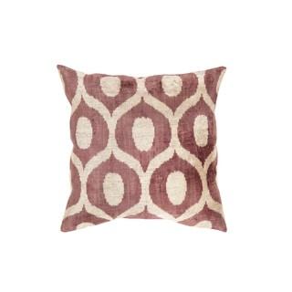 Pasargad Ikat Beige and Maroon Velvet 23-inch Turkish Pillow