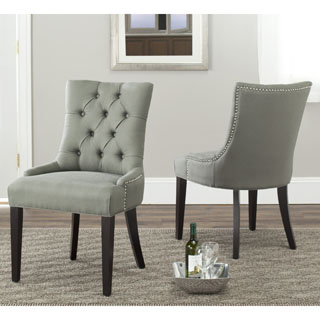 Safavieh En Vogue Dining Abby Grey Linen Nailhead Side Chairs (Set of 2)