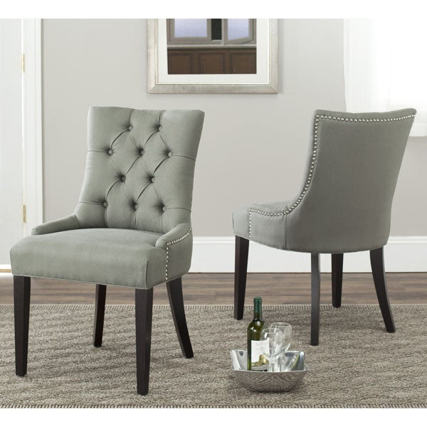 safavieh en vogue dining abby grey linen nailhead side chairs set of