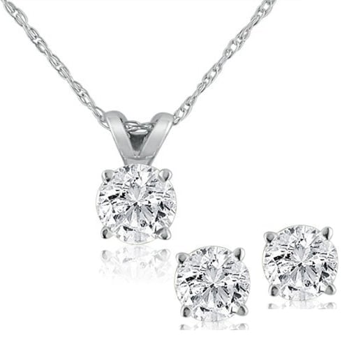 14K White Gold Diamond Studs and Solitaire Necklace Set Free