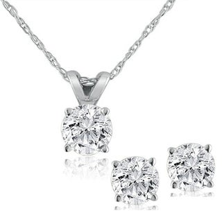 14K White Gold Diamond Studs and Solitaire Necklace Set