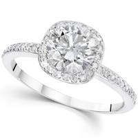 14K White Gold 1 1/5 ct TDW Diamond Claritiy Enhacned Cushion Halo Engagement Ring