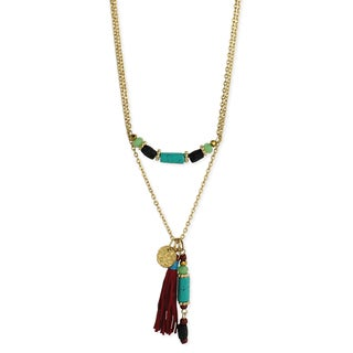 Multi-Stone Beads Gold Tassel Chain Necklace