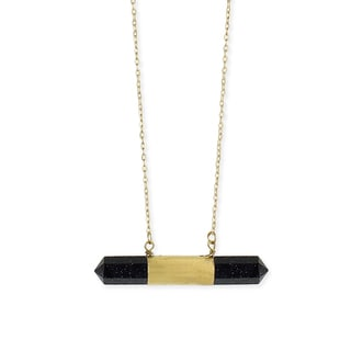 Gold Overlay Sparkling Blue Crystal Bar Pendant Necklace