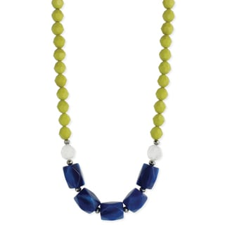 Lime & Blue Chunky Bead Necklace